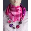 Elegantní hedvábný dámský šátek s doplňky - růžový