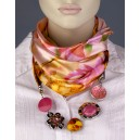 Elegantní dámský šátek s doplňky - žlutorůžový