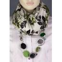 Elegantní kašmírová dámská šála s doplňky - zelenobílá