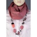 Kašmírová dámská šála s doplňky z kvalitní bižuterie